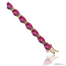 10K Yellow Gold Natural Pink Topaz Oval Tennis Bracelet 5x7 mm stones, 7  - $1,614.77 CAD