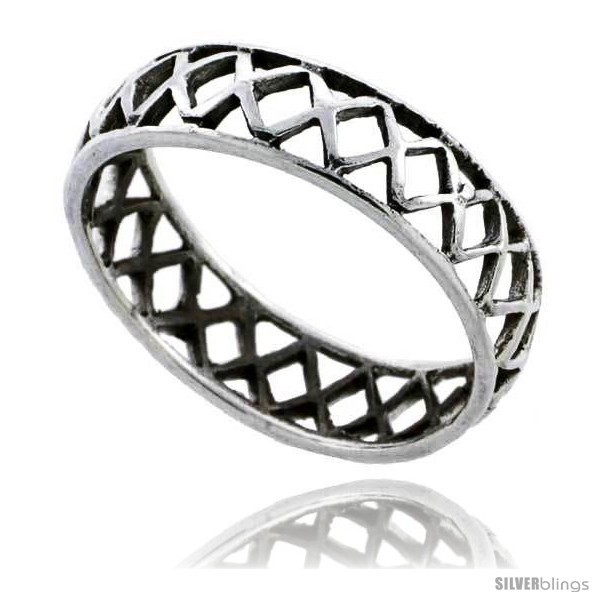 Primary image for Size 6.5 - Sterling Silver Crisscross Cut-out Wedding Band Ring Band 3/16 in