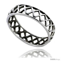 Size 6.5 - Sterling Silver Crisscross Cut-out Wedding Band Ring Band 3/16 in  - $13.98