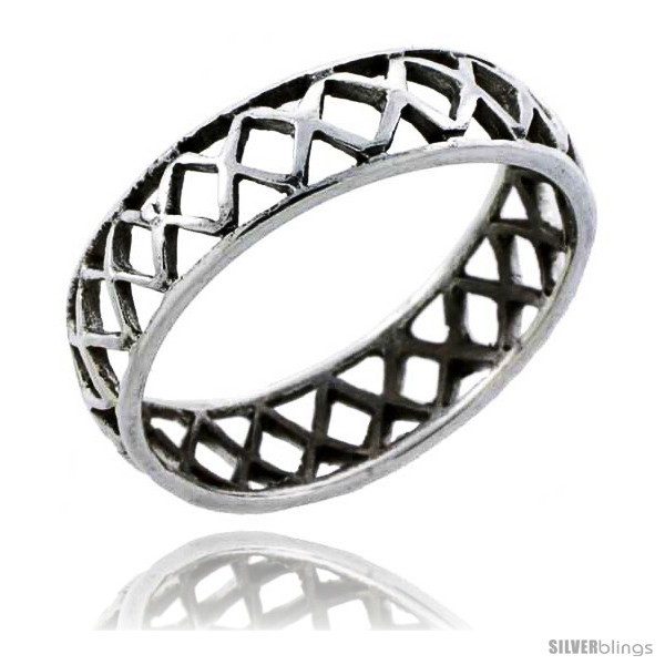 Size 6.5 - Sterling Silver Crisscross Cut-out Wedding Band Ring Band 3/16 in