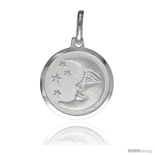 Primary image for Sterling Silver Moon & Star Medal 5/8