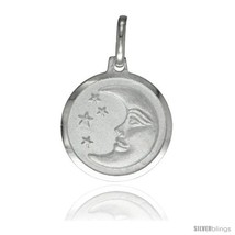Sterling Silver Moon & Star Medal 5/8  - £12.49 GBP