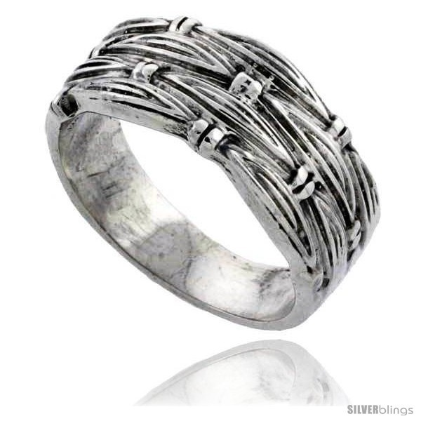 Sterling silver woven wedding band ring 3 8 wide