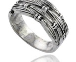 Sterling silver woven wedding band ring 3 8 wide thumb155 crop