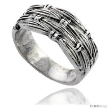 Sterling silver woven wedding band ring 3 8 wide thumb200