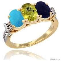Size 6.5 - 10K Yellow Gold Natural Turquoise, Lemon Quartz & Lapis Ring ... - $564.64