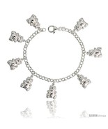 Length 7 - Sterling Silver Teddy Bear Charm Bracelet, 3/4in  (19 mm)  - $79.06