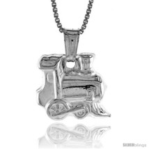 Sterling Silver Small Train Pendant, Made in Italy. 9/16 in. (14 mm) Tall  - $21.75