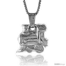Sterling Silver Small Train Pendant, Made in Italy. 9/16 in. (14 mm)  - $19.01