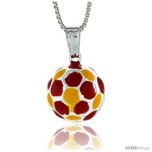 Sterling Silver Small Enamel Soccer Ball Pendant, Made in Italy. 1/2 in. (13  - $21.75