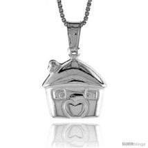 Sterling Silver Small House Pendant, Made in Italy. 1/2 in. (13 mm)  - $19.01