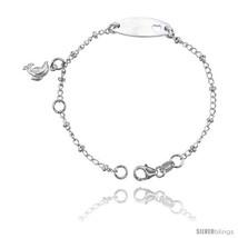 Sterling Silver Curb Link Baby ID Bracelet w/ H... - $15.73