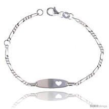 Sterling Silver Figaro Link Baby ID Anklet w/ Heart  - $23.98