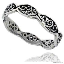Size 7.5 - Sterling Silver Swirl Filigree Wedding Band Ring, 1/8 in wide... - $11.89