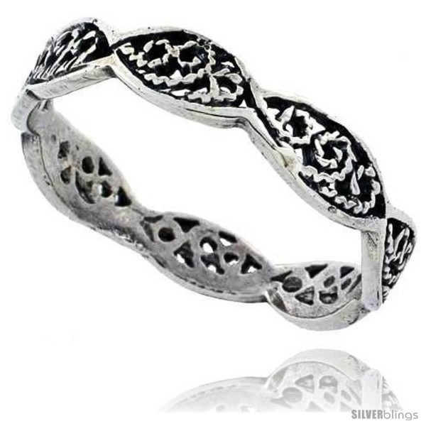 Primary image for Size 6.5 - Sterling Silver Swirl Filigree Wedding Band Ring, 1/8 in wide -Style