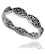 Size 6.5 - Sterling Silver Swirl Filigree Wedding Band Ring, 1/8 in wide... - $11.89
