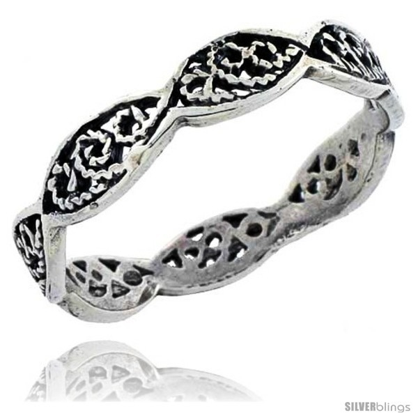 Size 7.5 - Sterling Silver Swirl Filigree Wedding Band Ring, 1/8 in wide -Style