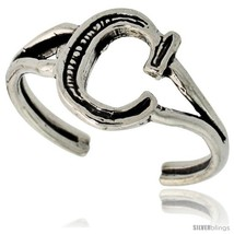 Sterling Silver Initial Letter C Alphabet Toe Ring / Baby Ring, Adjustable  - $10.53