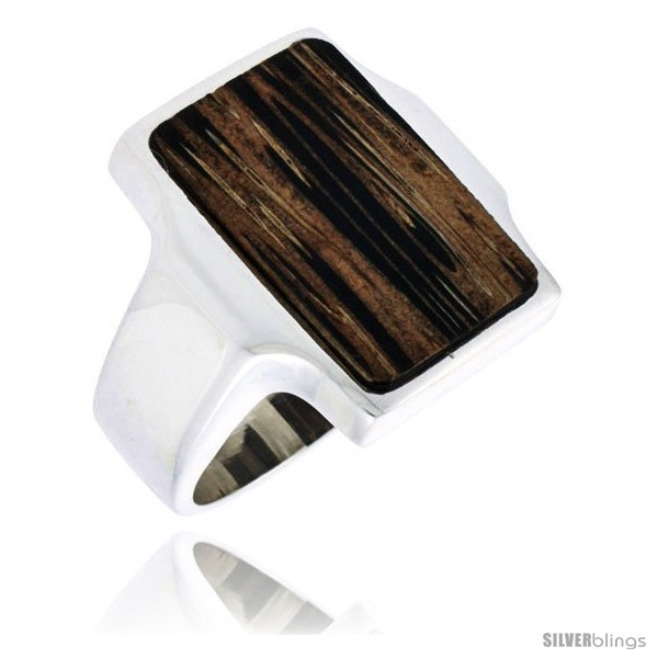 Size 7 - Sterling Silver Rectangular Ring, w/ Ancient Wood Inlay, 7/8in  (22 mm)