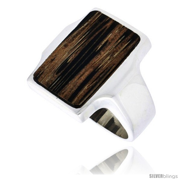 Size 6 - Sterling Silver Rectangular Ring, w/ Ancient Wood Inlay, 7/8in  (22 mm)