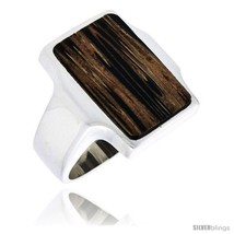Size 9 - Sterling Silver Rectangular Ring, w/ Ancient Wood Inlay, 7/8in ... - $63.21