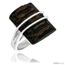 Size 7 - Sterling Silver Rectangular Ring, w/ Ancient Wood Inlay, 15/16i... - $54.39