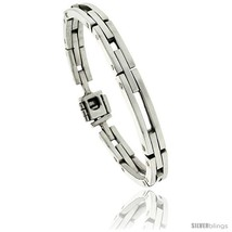 Length 7.5 - Sterling Silver Men's Bar Cut Outs Link Bracelet Handmade 1... - $264.08