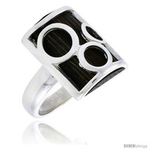 Le design rectangular ring w ancient wood inlay w triple circle cut outs 7 8 22 mm wide thumb200