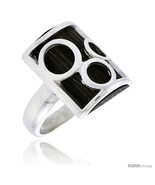 Size 6 - Sterling Silver Bubble Design Rectangular Ring, w/ Ancient Wood... - $71.64