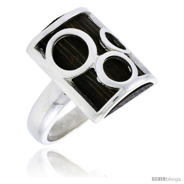 Lver bubble design rectangular ring w ancient wood inlay w triple circle cut outs 7 8 22 mm wide