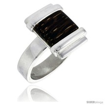 Size 7.5 - Sterling Silver Square-shaped Ring, w/ Ancient Wood Inlay, 5/... - $46.01
