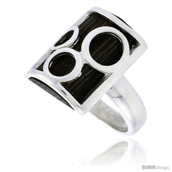 Size 9 - Sterling Silver Bubble Design Rectangular Ring, w/ Ancient Wood Inlay,