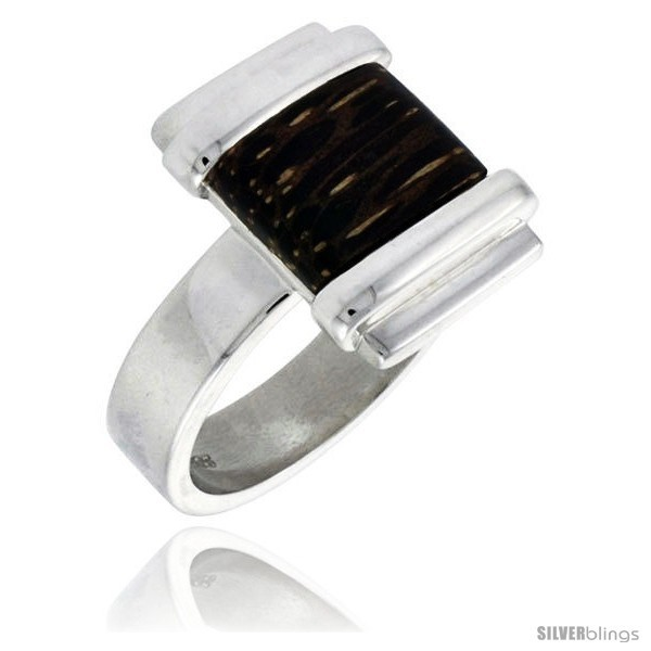 Sterling silver square shaped ring w ancient wood inlay 5 8 16 mm wide