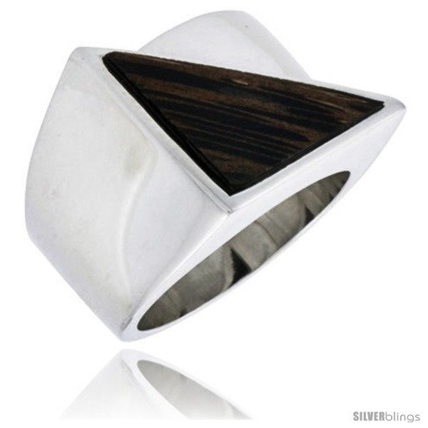 Sterling silver triangular ring w ancient wood inlay 11 16 17 mm wide