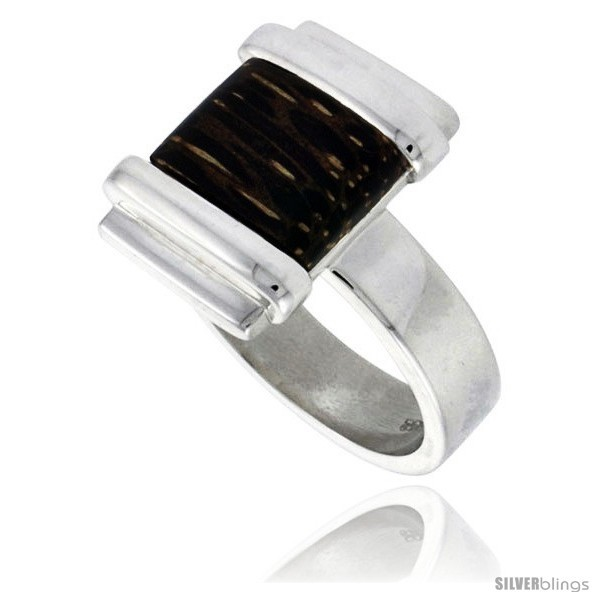 Size 8 - Sterling Silver Square-shaped Ring, w/ Ancient Wood Inlay, 5/8in  (16