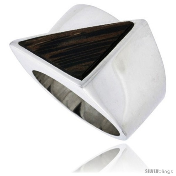 Size 6.5 - Sterling Silver Triangular Ring, w/ Ancient Wood Inlay, 11/16in  (17