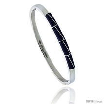 Sterling Silver Bangle Bracelet w/ Striped Blue Stones, 3/16 in  - $162.11