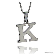 Sterling Silver Block Initial Letter K Aphabet Pendant Highly Polished, 1/2 in  - $17.00