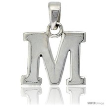 Sterling Silver Block Initial Letter M Aphabet Pendant Highly Polished, 1/2 in  - $17.00