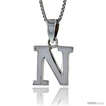 Sterling Silver Block Initial Letter N Aphabet Pendant Highly Polished, 1/2 in  - $17.00
