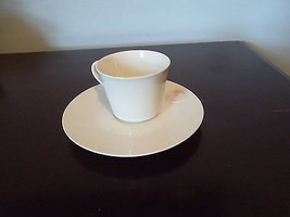 White china/porcelain tea cup and saucer~minimalist style~unique markings - $24.70