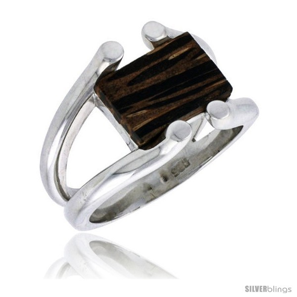 Sterling silver wire ring w ancient wood inlay 5 8 16 mm wide