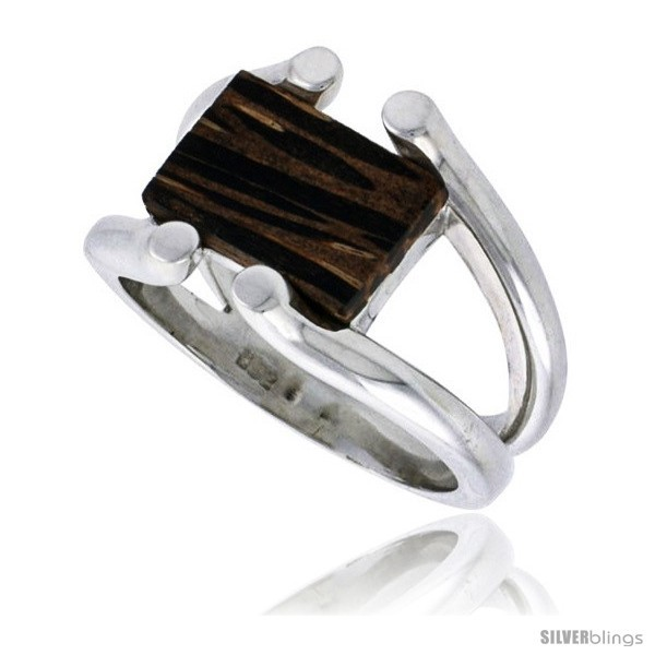 Size 6 - Sterling Silver Wire Ring, w/ Ancient Wood Inlay, 5/8in  (16 mm)