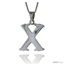 Sterling Silver Block Initial Letter X Aphabet Pendant Highly Polished, 3/4 in  - $19.85