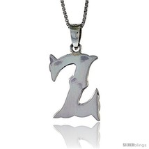 Sterling Silver Block Initial Letter Z Aphabet Pendant Highly Polished, 3/4 in  - $19.85