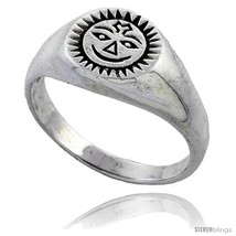 Size 6.5 - Sterling Silver Sun Ring 3/8 wide -Style  - $17.93