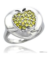 Size 6 - Sterling Silver Apple on Heart Ring w/ Yellow Topaz Color Brilliant  - $51.45