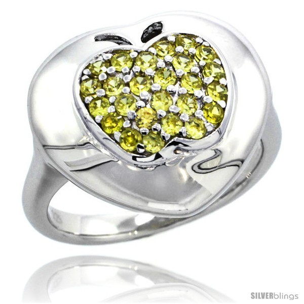 Size 7 - Sterling Silver Apple on Heart Ring w/ Yellow Topaz Color Brilliant  - $51.45