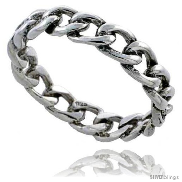 Sterling silver cable chain link wedding band ring 3 16 in wide