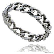 Sterling silver cable chain link wedding band ring 3 16 in wide thumb200